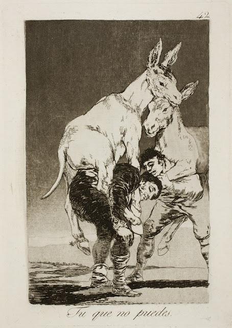 Από τα χαρακτικά του Γκόγια με τίτλο Τα Καπρίτσια - Tu que no puedes / Εσύ που δεν μπορείς / You who Cannot