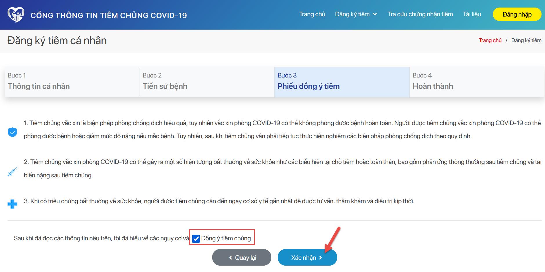 đăng ký tiêm vắc xin COVID-19