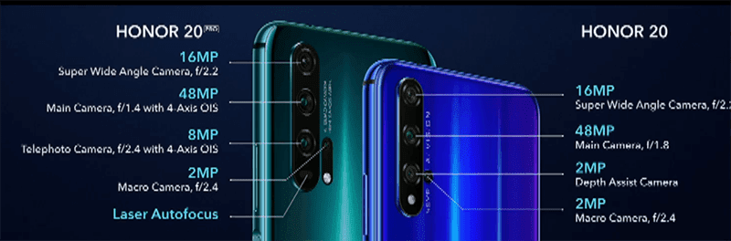 Honor 20 Pro and Honor 20 quad camera systems