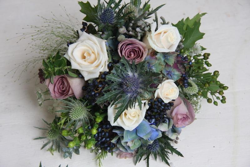 The Flower Magician Autumn Blue Wedding Bouquet