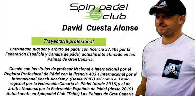 David Cuesta Alonso Entrenador Pádel