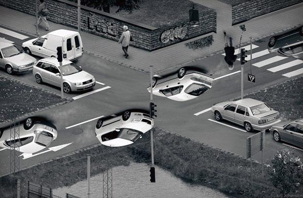 Altüst olan trafik optik illüzyonu