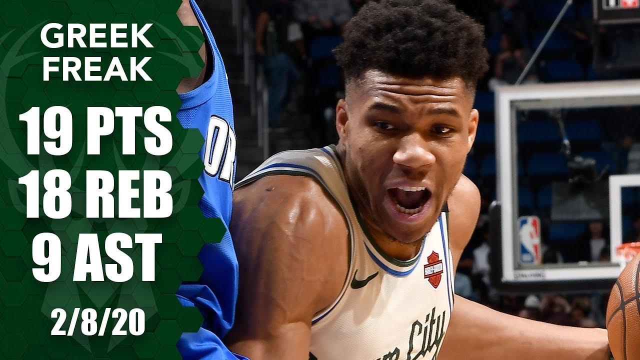 February 8, 2020(2/08/2020),Giannis Antetokounmpo@ORL,19Pts,18Reb,9Ast