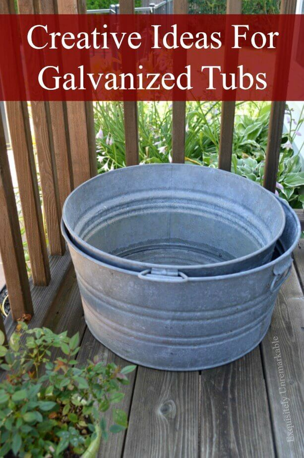 Two Galvanized Tubs On A Wooden Deck In a Garden
