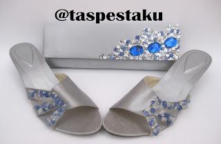 Tas Pesta Mewah Matching Dengan Sepatu Pesta Silver Mix Biru ELektrik Hand Made