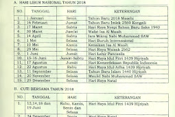 Daftar Hari Libur Nasional dan Cuti Bersama Tahun 2018 Lengkap Berdasarkan SKB 3 Menteri (Menteri Agama, Menteri Ketenagakerjaan, dan MenPAN-RB)