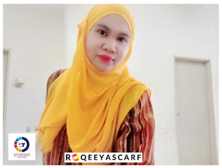 Shawl by Qiya Saad, bisnes shawl, jual shawl, kain shiffon, harga shawl, supplier shawl klang dan shah alam, shawl labuh, qiya saad tailor, jahit tudung, shawl Chiffon plain, roqeeyascarf, hijabista, wanita perempuan gadis isteri cantik tutup aurat, yellow kuning warna color, selendang,
