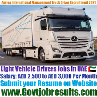 Auriga International Management Light Truck Driver Recruitment 2021-22