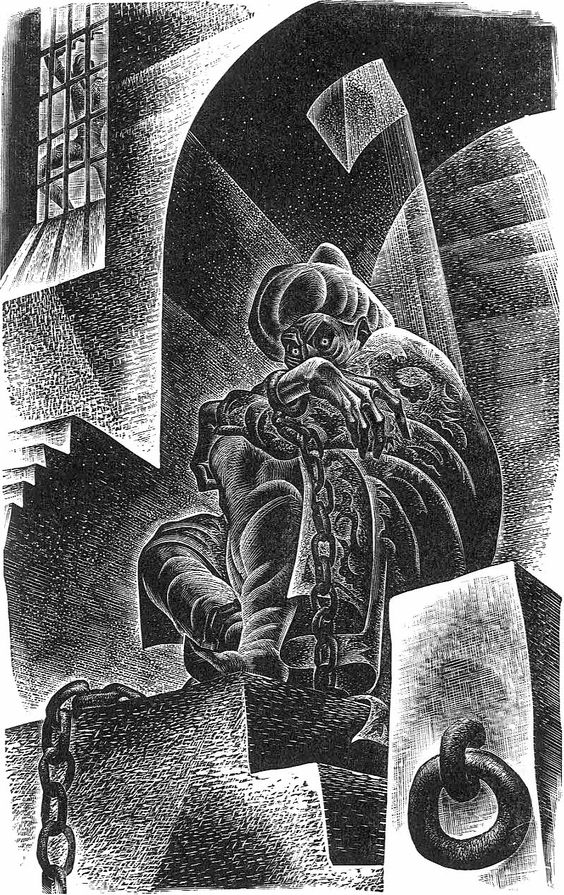 a Lynd Ward illustration of a man in prison planning revenge