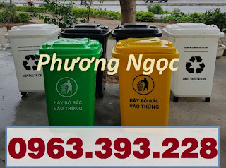 Thùng rác 60L nắp kín, thùng rác nhựa HDPE, thùng rác công cộng 68697c312eebccb595fa