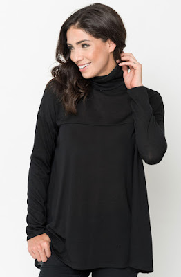 Buy Black Funnel Neck Draped Knit Tunic Online $20 -@caralase.com
