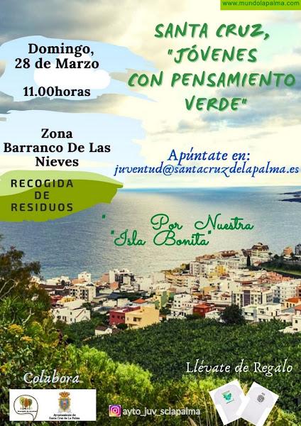 La juventud de Santa Cruz de La Palma organiza una nueva recogida de residuos en la zona del Barranco de Las Nieves