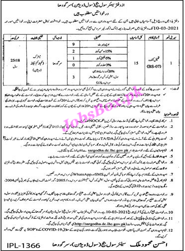 Latest Senior Civil Judge Office – Civil Courts Sargodha Jobs 2021