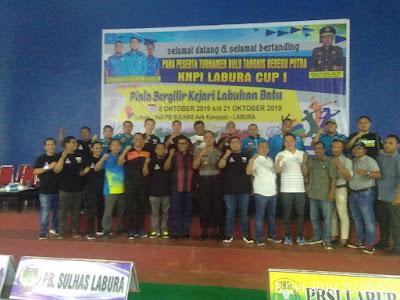 Kapolsek Kualuh Hulu Hadiri Turnamen Bulu Tangkis Beregu Putra KNPI Labura Cup I