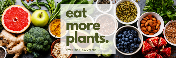 "various plant-based foods with a caption of ""eat more plants 