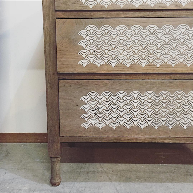 Antique Weathered Dresser Makeover using #Weatherwood Stains and #RoyalStencils on fg2b
