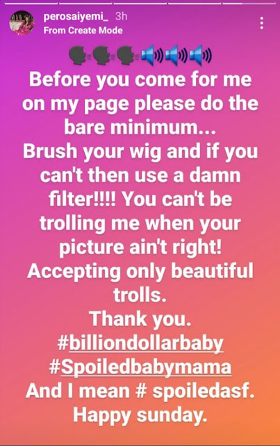 Don't troll me if you are ugly  – Tuface's babymama, Pero slam trolls