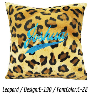 Personalized cushion with leopard print faux fur