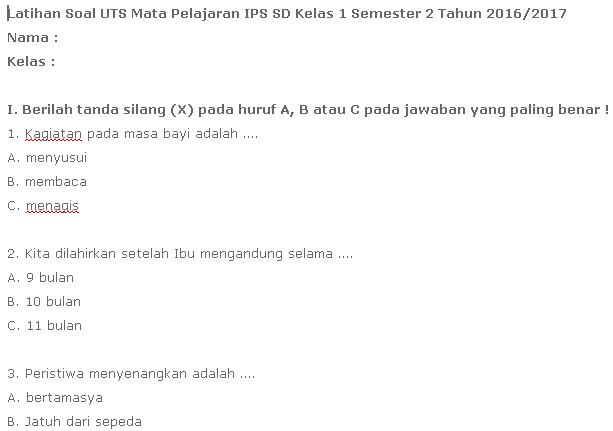 Contoh Soal UTS IPS SD Kelas 1 Semester 2 KTSP Terbaru 2017