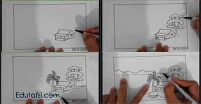 Cara menggambar pemandangan step by step