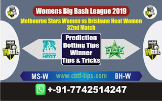 Who will win Today WBBL 2019, 32nd Match Stars vs Brisbane Heat 32nd, WBBL T20 2019