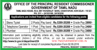 Applications are invited for Direct Recruitment of Steno Typist, Telephone Operator and Plumber Posts in Tamil Nadu House in New Delhi (Govt of Tamilnadu)