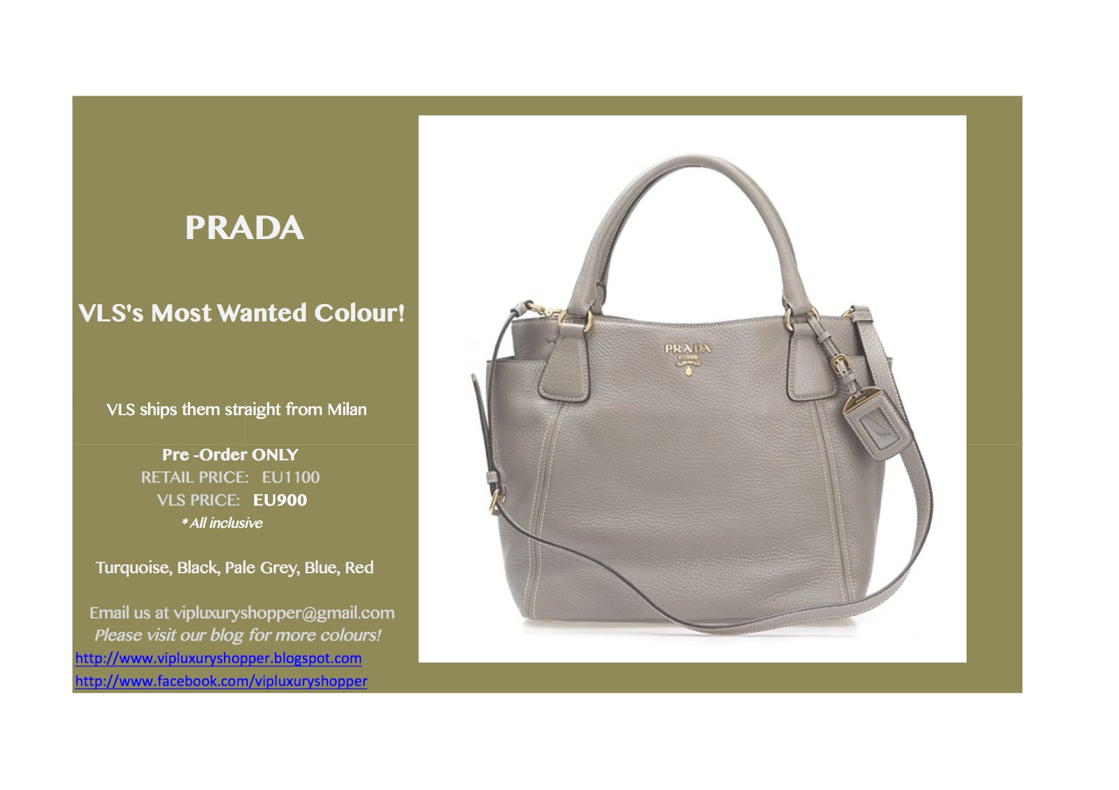 fce735bbd8d637 VLS is offering PRADA at a VERY affordable price. Please email us at  vipluxuryshopper@gmail.com for more details. We might make you a better  deal via email!