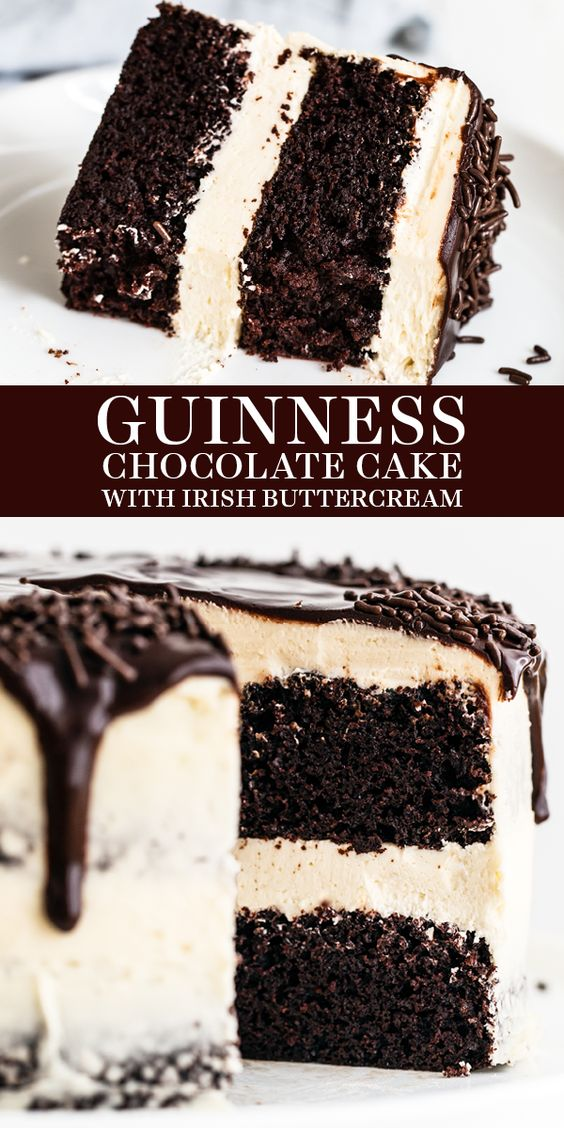 Delicious Guinness Chocolate Cake with Irish Buttercream