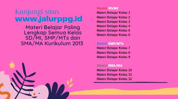 Materi Belajar Paling Lengkap Semua Kelas SD-MI, SMP-MTs dan SMA-MA Kurikulum 2013 - www.jalurppg.id