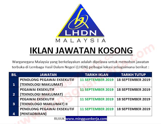 Jawatan Kosong Terkini Di Lembaga Hasil Dalam Negeri Lhdn Mohon Sebelum 18 September 2019 Mingguan Kerja