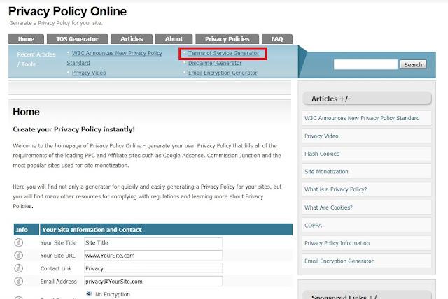 Setelah halaman terbuka, Sobat klik Opsi Terms Of Service Generator.