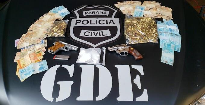 Laranjeiras do Sul: Polícia Civil prende quatro com grande quantidade de cocaína, armas e munições