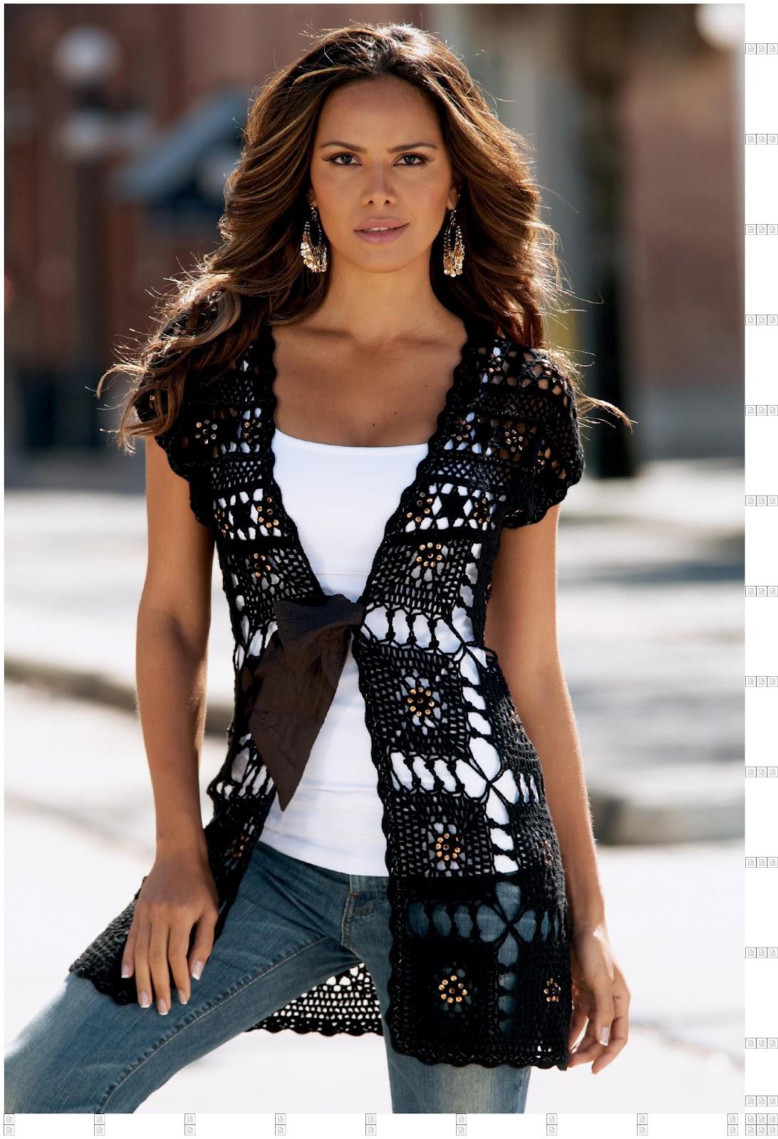 Chaleco-Tunica de Cuadrados de Crochet
