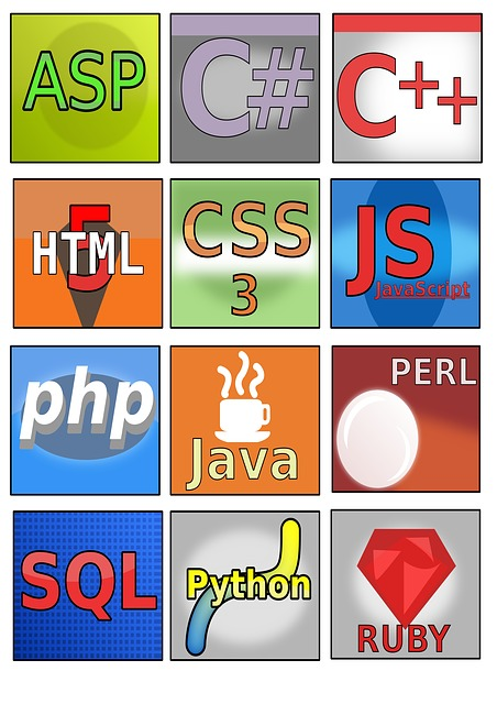 A grid of icons of different programming languages.