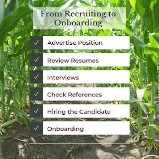 Check list titled: 'From Recruiting to Onboarding'. The list reads as the following: advertise position, review resumes, interviews, check references, hiring the candidate, and onboarding.