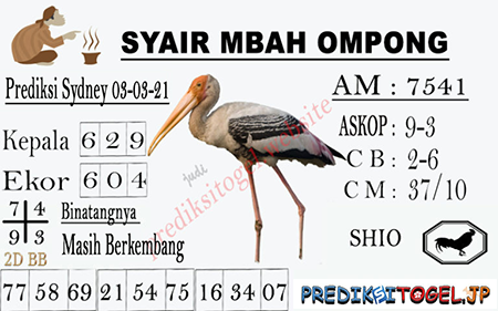 Syair Mbah Ompong Sydney Rabu 03-Mar-2021