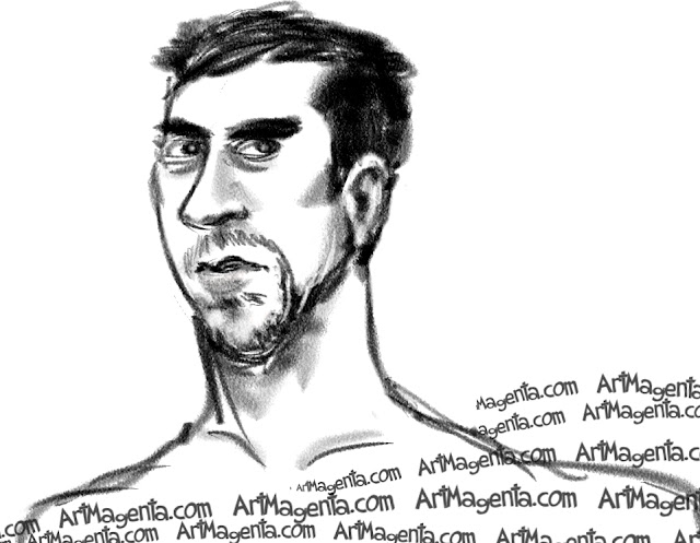 Michael Phelps is a carcature by caricaturist Artmagenta
