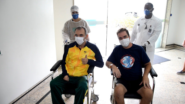 Marcelo Correa e Rafael Louro: alta pela Covia19 Hospital Unimed Petrópolis