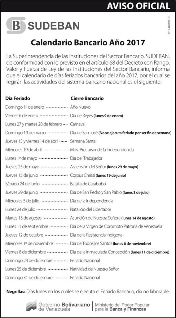 Calendario oficial bancario de Sudeban. Lunes bancarios. Días festivos de Venezuela en el 2017. Días feriados de Venezuela en el 2017. Calendario bancario de Venezuela 2017. Lunes-bancarios-Días-festivos-de-Venezuela-en-el-2017-Días-feriados-de-Venezuela-en-el-2017-Calendario-bancario-de-Venezuela-2017