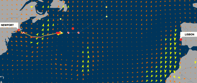 graphic of Volvo Ocean Race, Leg 7 - Newport to Lisbon - Positions at: 20 May 18:42 UTC