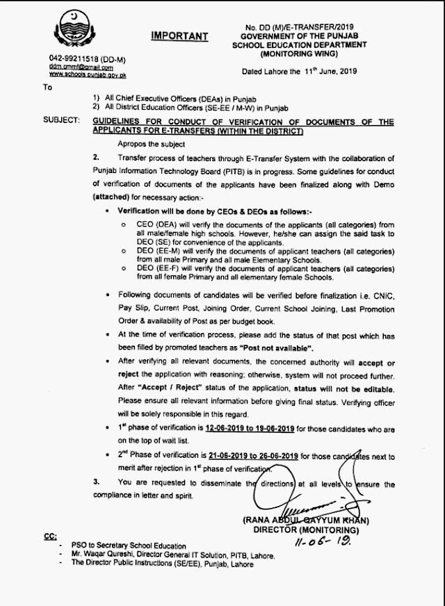 GUIDELINES TO CONDUCT VERIFICATION OF DOCUMENTS OF APPLICANTS FOR E-TRANSFERS