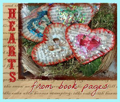 DIY sewn paper hearts Valentine's Valentines