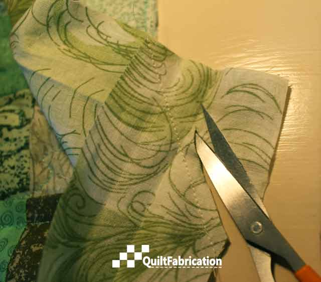 trim excess fabric