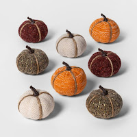 Small Fabric Pumpkins in Gray, Burgundy and Orange