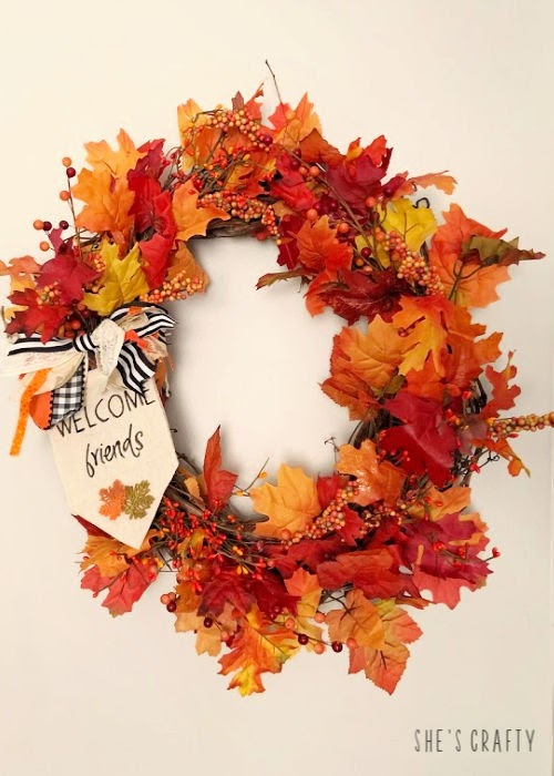 Easy to Make Grapevine Wreath for Fall  |  Use items that are readily available to make this wreath!