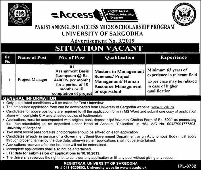 Jobs in University of Sargodha 27 Sept 2019