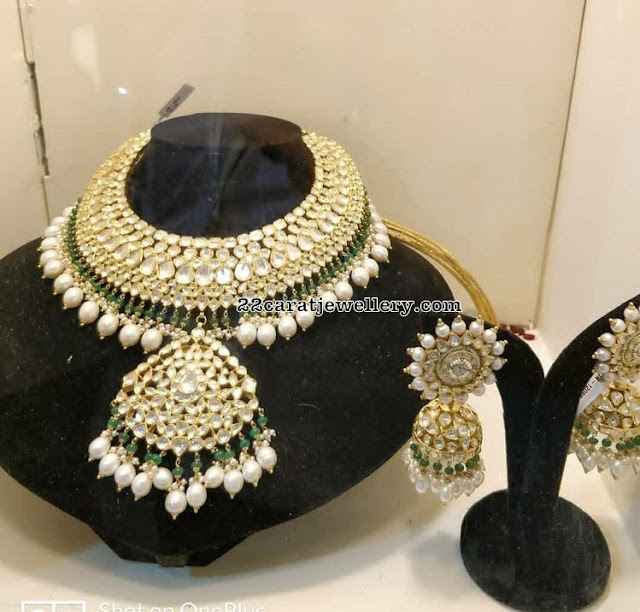 Big Polki Choker Large Jhumkas
