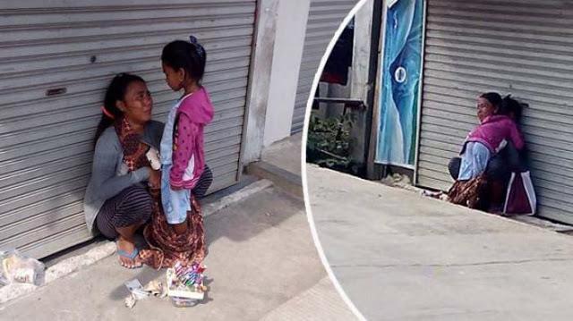 MASYA ALLAH... Seorang Ibu Berbagi Sebungkus Roti dengan Anaknya, Bikin Netizen Iba