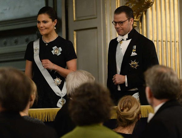 Queen Silvia, Crown Princess Victoria, Princess Sofia, Princess Madeleine wore lace gown, diamond earrings, gold earrings