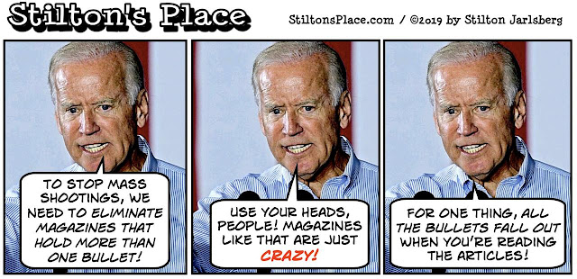 stilton's place, stilton, political, humor, conservative, cartoons, jokes, hope n' change, joe biden, guns, magazine, bullets, mass shooting